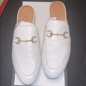 GUCCI white loafer slides in size 39
